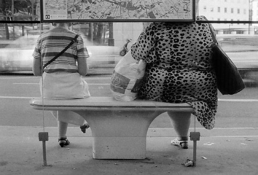 Two women on a park bench, one thin and one overweight