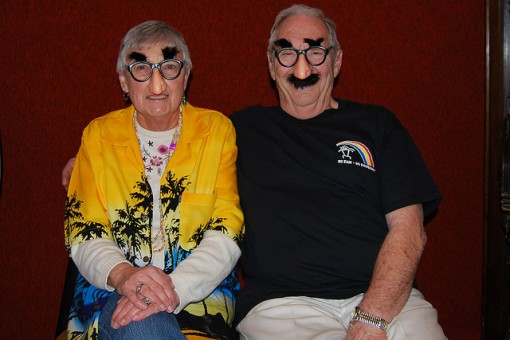 Silly older couple with costume glasses